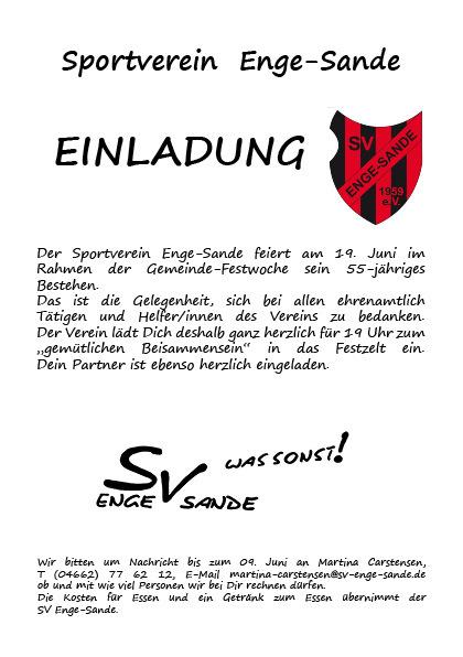 sportverein enge-sande von 1959 e. v. - archiv 2014, Einladung